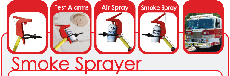 The Smoke Sprayer can trigger any brand of Smoke Spray, and Air Spray from the end of an extension pole.
